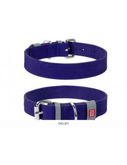 Ошейник WAUDOG Classic, кожа, металлическая пряжка (ш. 25 мм, д. 38-49 см), фиолетовый