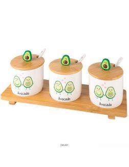 Банки для сыпучих продуктов «Авокадо» в наборе 3 шт.