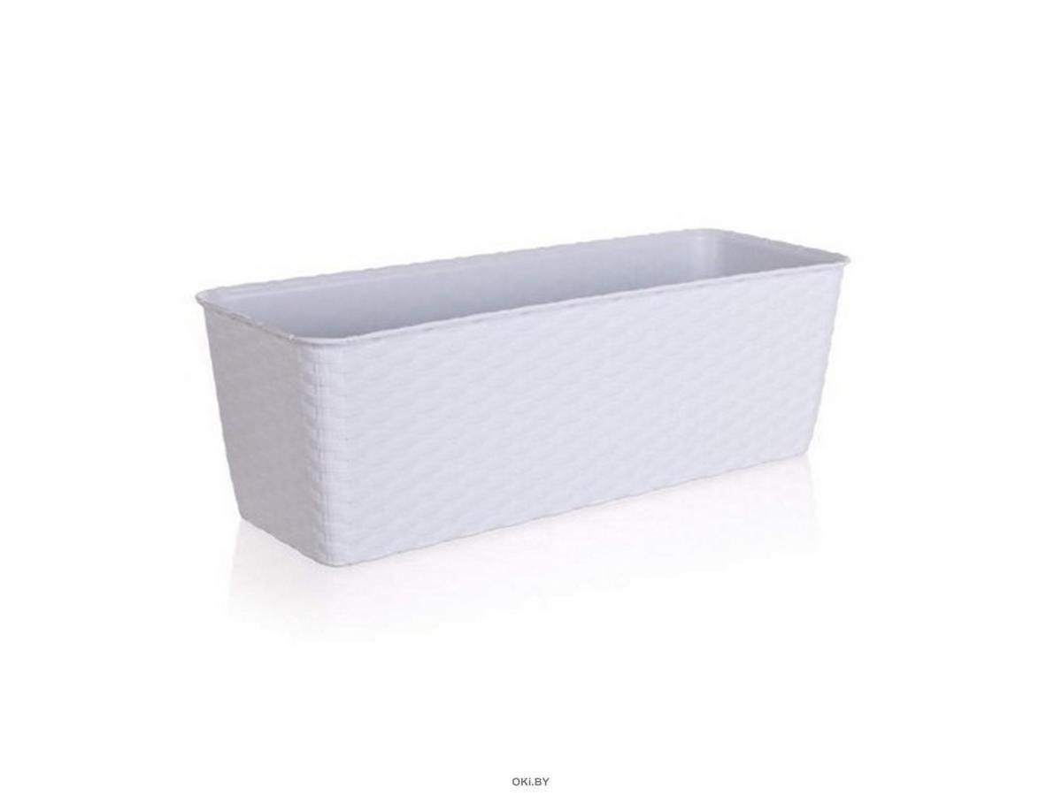 ГОРШОК ДЛЯ ЦВЕТОВ пластмассовый белый с автополивом 40*15*13 см (арт. 4773700, код 737006)