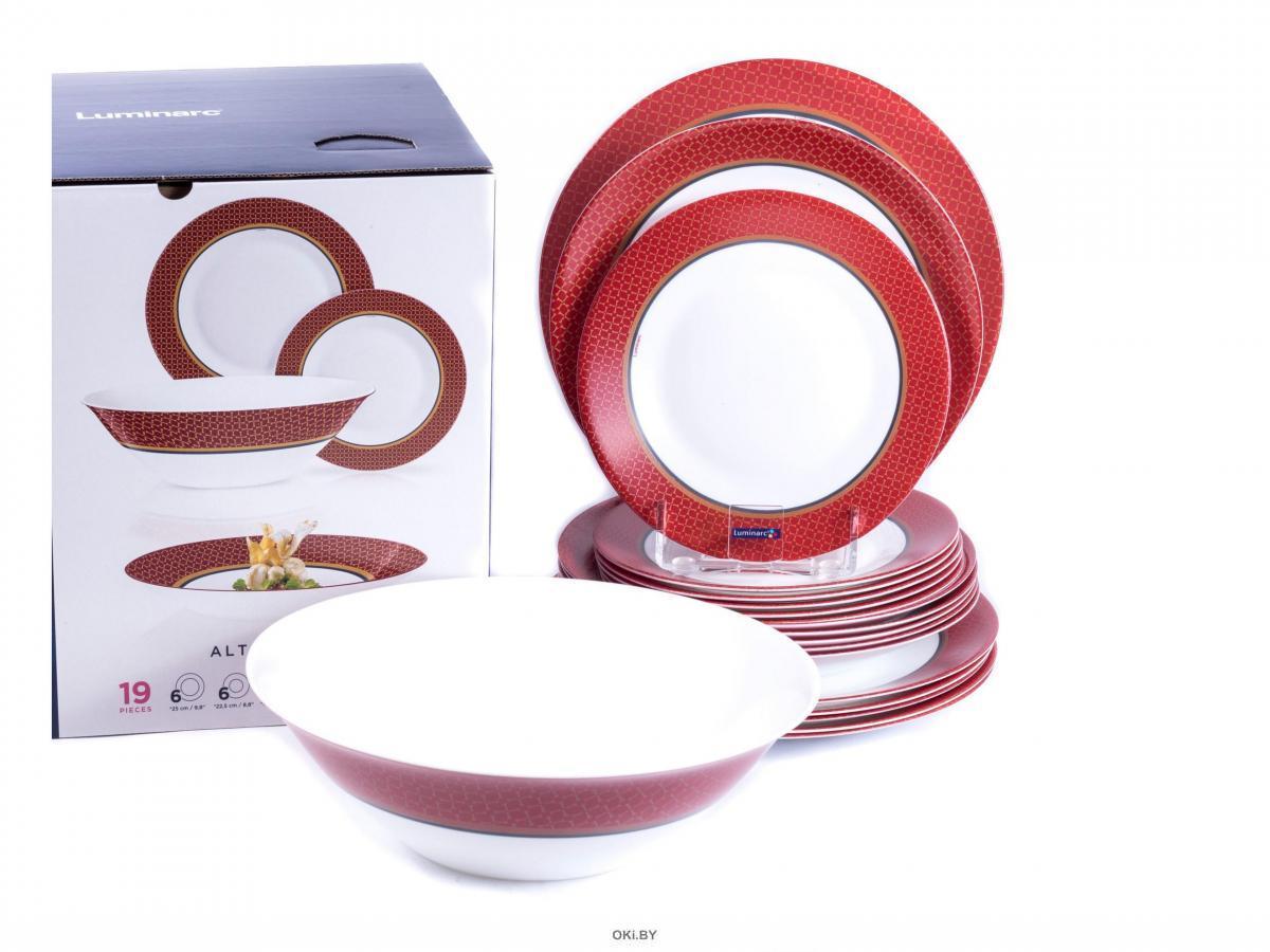 НАБОР ПОСУДЫ стеклокерамической «Alto Rubis» 19 пр. : 18 тарелок 19,5/22,5/25 см, салатник 27 см (арт. N8520, код 171705)