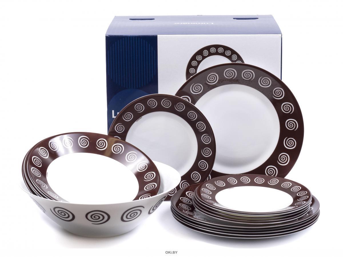 НАБОР ПОСУДЫ стеклокерамической «Essence sirocco brown» 19 пр. : 18 тарелок, салатник (арт. N4867, код 200634)