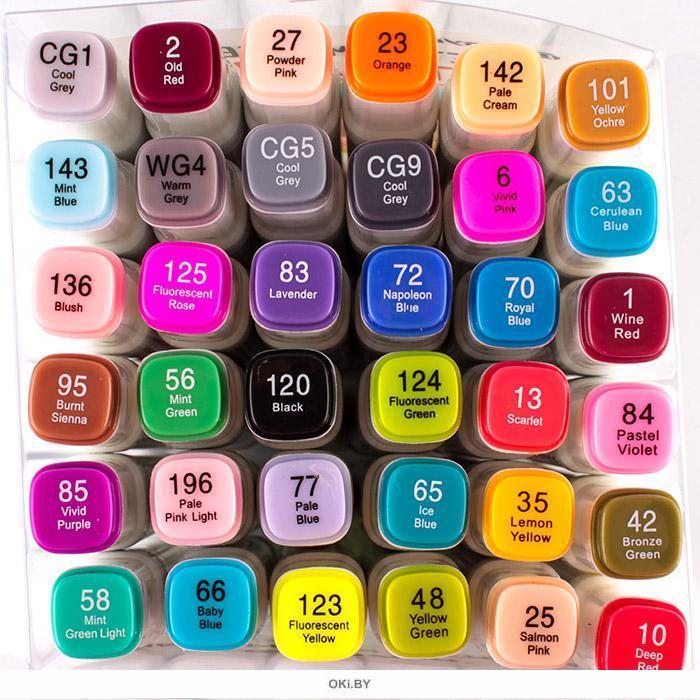 Маркеры для скетчинга двусторонние. Набор 36 цветов