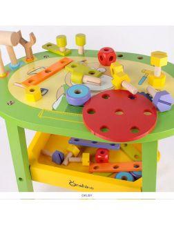 Столик с конструктором 62 детали дерево. Игрушка