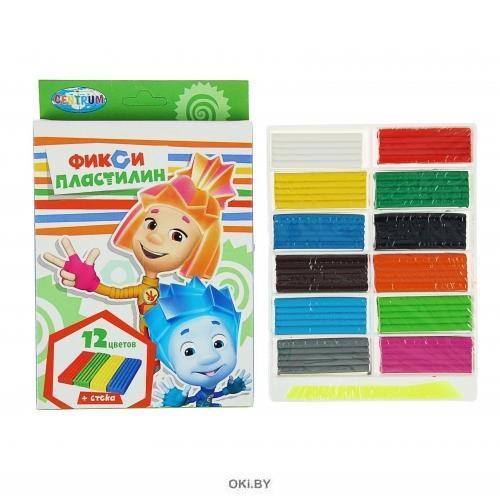 Пластилин 12 цветов  Фиксики, 240 г, стека пластиковая, картонная упаковка с европодвесом