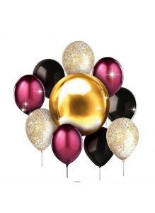 НАБОР ШАРИКОВ резиновых надувных «Золотой шик» : 11 шаров, лента, конфетти (арт. 25648944, код 160391)