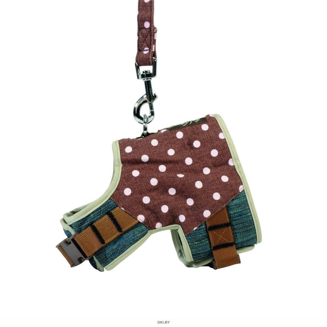 Шлея джинсовая, коричневая, в горошек, с поводком, M, 46-51 см