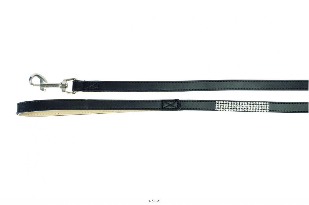 Поводок со стразами черный, 15X1200мм