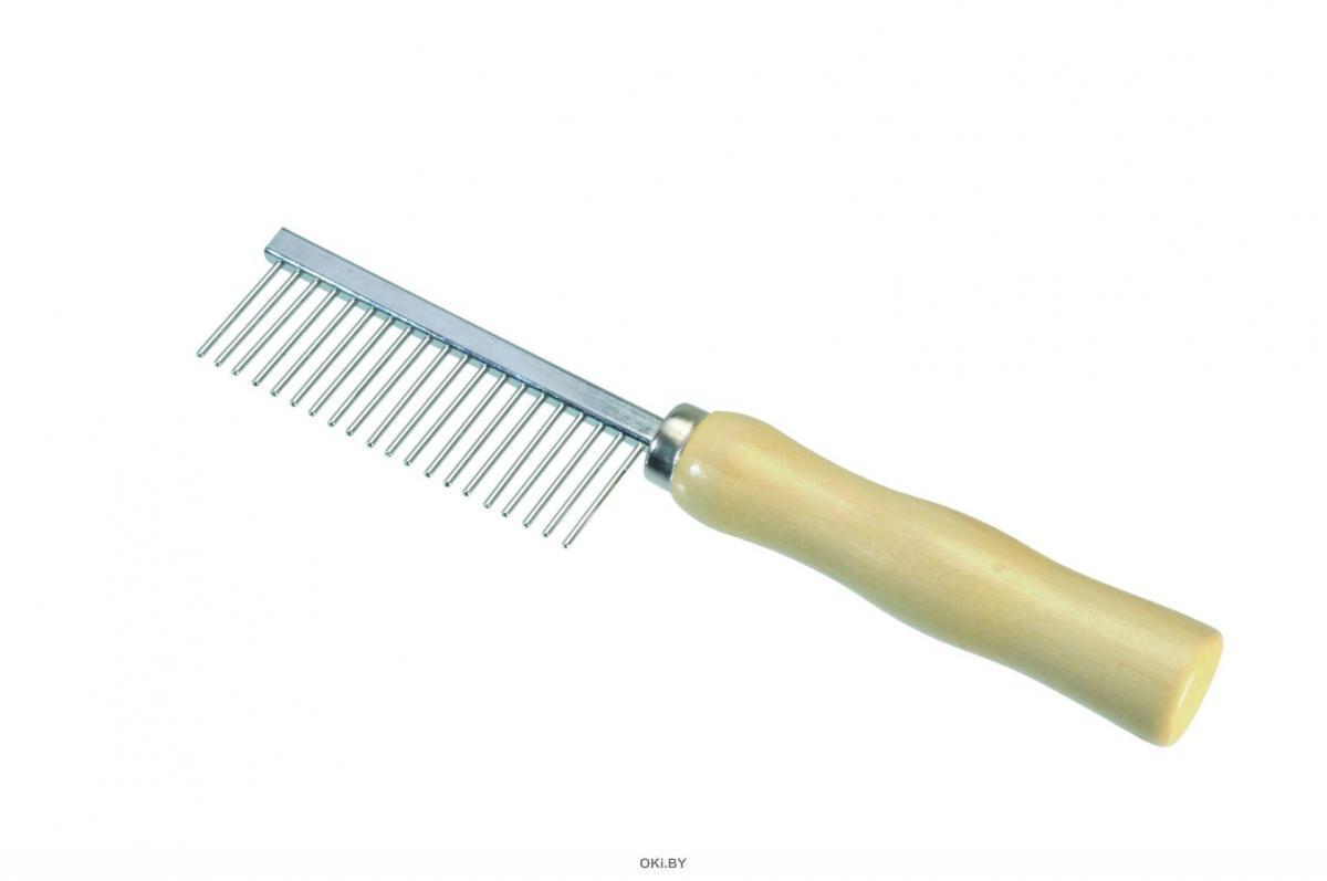 Расческа 21 зубец с деревянной ручкой