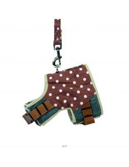 Шлея джинсовая, коричневая, в горошек, с поводком, S, 41-46 см