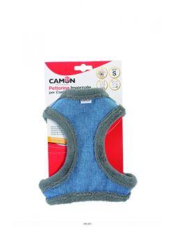Шлея голубая с меховой подкладкой и краями, M, 62-70 см