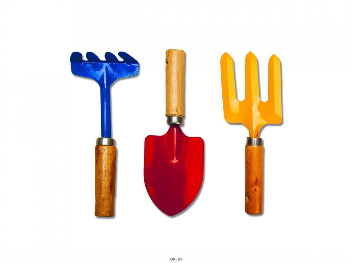 НАБОР ИНСТРУМЕНТОВ ДЛЯ САДА / ОГОРОДА металлических с деревянными ручками 3 предмета (арт. 27427566, код 209293)