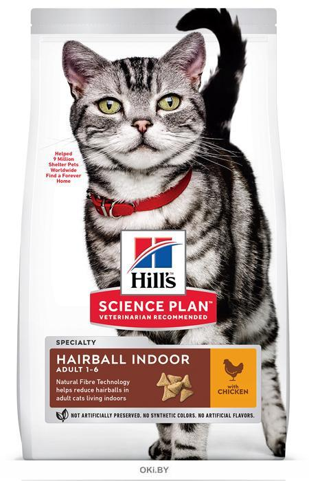 Сухой корм для кошек Hills Science Plan Hairball Control and Indoor 10 кг