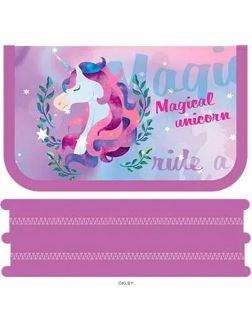 Пенал 2 отделения 190*105 мм Ride a unicorn
