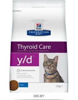 Сухой корм Hill's Prescription Diet y/d для взрослых кошек лечение гипертериоза, 1,5 кг