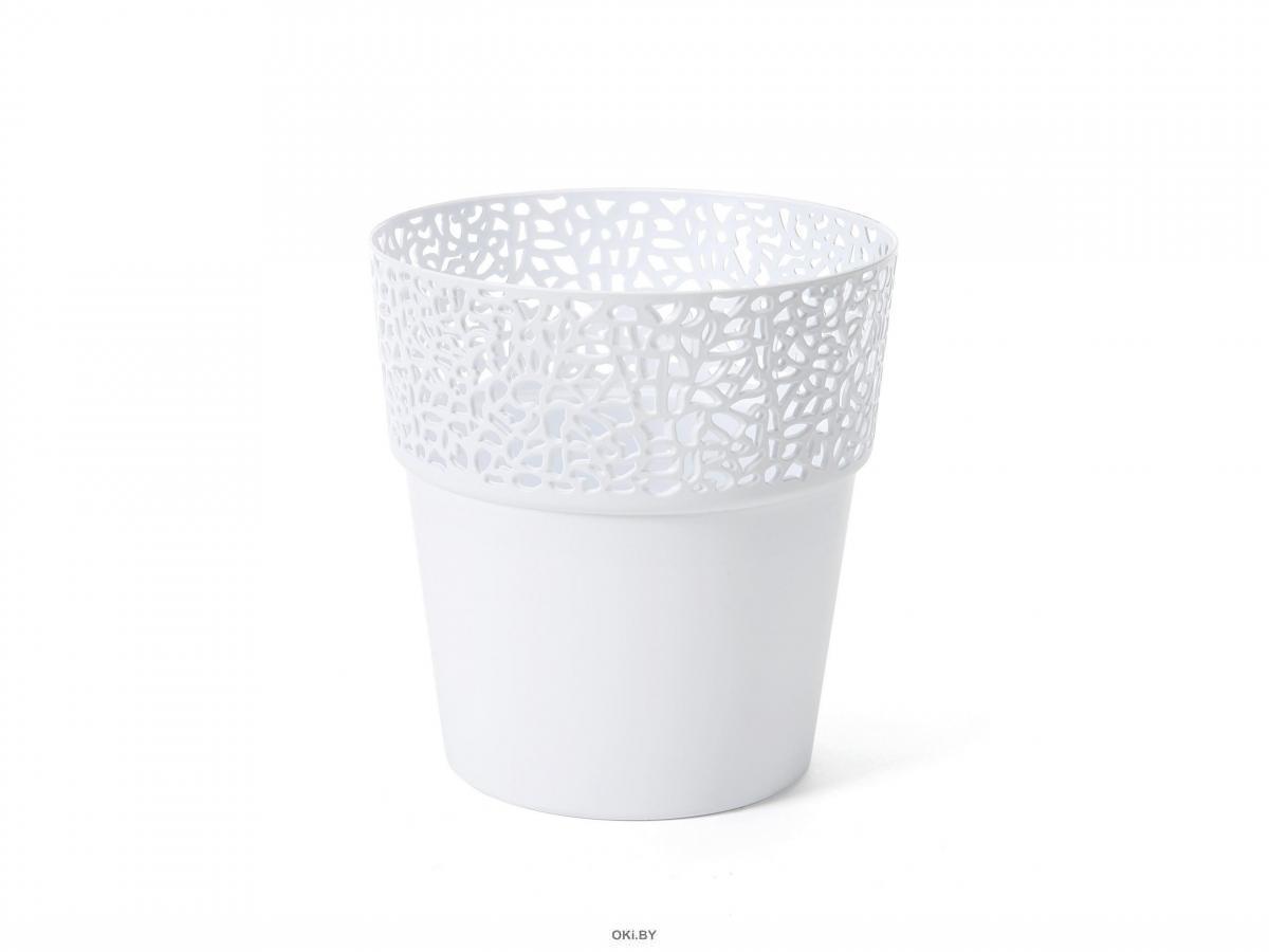 КАШПО пластмассовое «Rosa» белое 13 см (арт. LA656-05, код 056569)