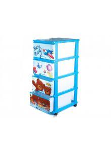 КОМОД пластмассовый детский с 4-мя выдвижными ящиками игровой 51*40*100 см (арт. 040316R, код 680380)