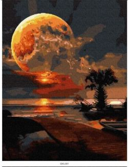 Пальма на закате - живопись по номерам на картоне 30х40 см Azart