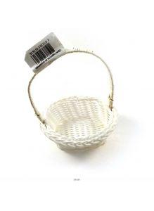 Корзинка пластиковая с ручкой овальная 12,5х9х9,5см, белая