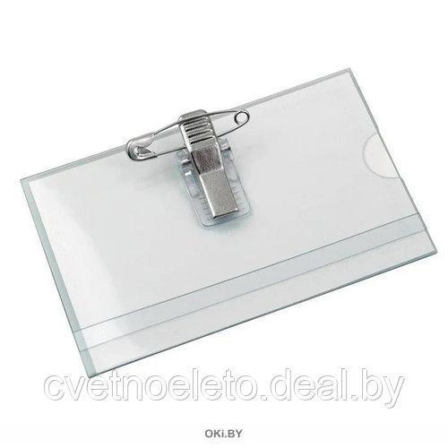 Бейдж горизонтальный с булавкой и клипом прозрачный 90х55мм J&J