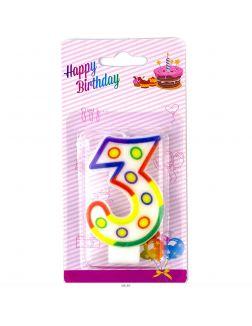 Свеча для торта с держателем Цифра