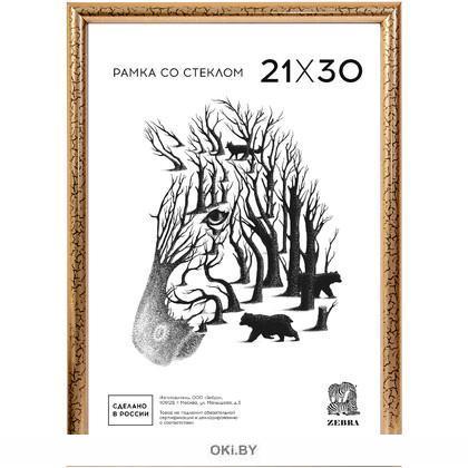 Фоторамка пластиковая А4, 21х30 см, золото, профиль №5 (Zebra)