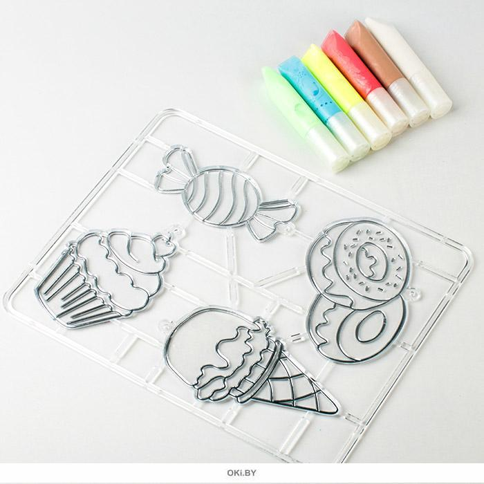 Набор красок по стеклу с трафаретом «Вкусняшки»