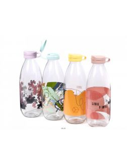 БУТЫЛКА стеклянная для питья с пластмассовой крышкой 1 л (арт. M-331, код 833316)