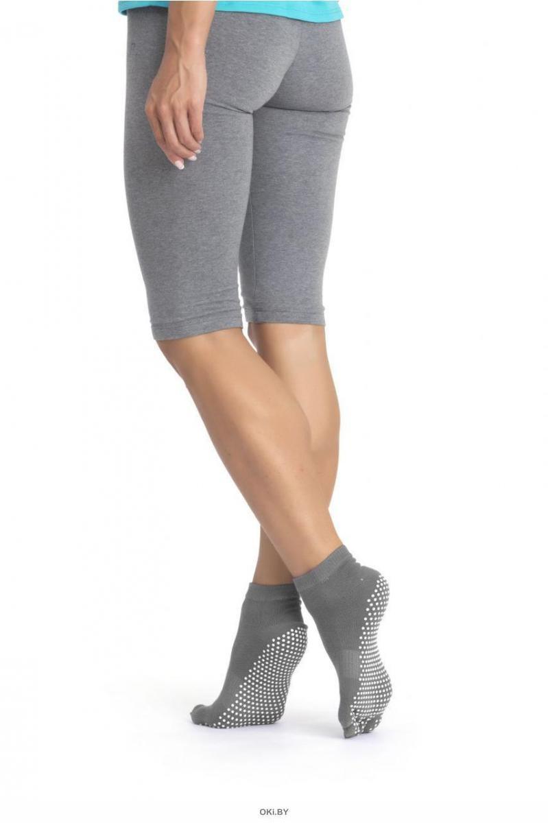 Носки противоскользящие для занятий йогой закрытые, серые