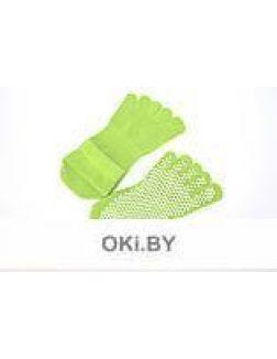 Носки противоскользящие для занятий йогой закрытые, салатовые