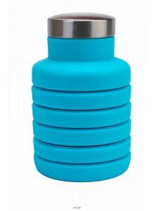Бутылка для воды силиконовая складная с крышкой, 500 мл, голубая