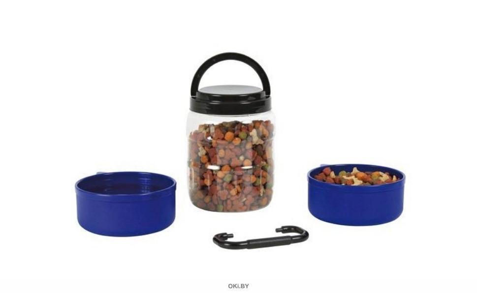 Набор TRIXIE дорожный (контейнер для корма 2 л+ 2 миски по 750 мл) синий
