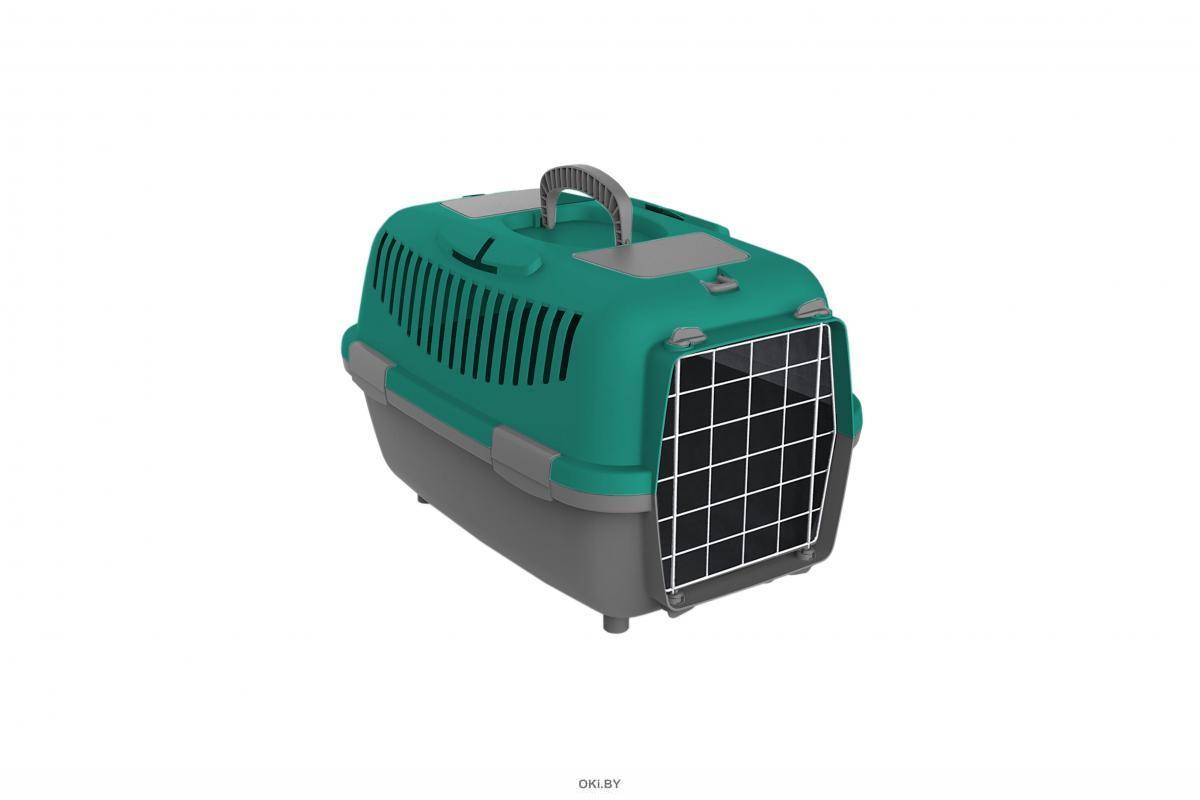 Переноска для собак KIRI-KIRI NOMADE LUX 3 61x40x38 см тёмн-серый / бирюзовый до 12 кг