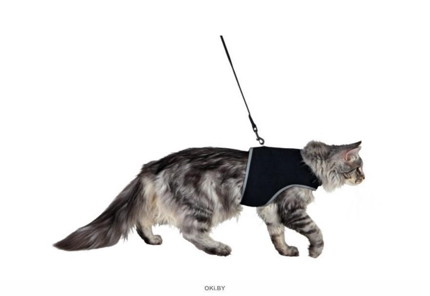 Шлейка мягкая с поводком Trixie для кошек черная 36-54 см