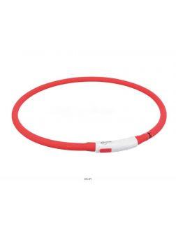 Ошейник светящийся TRIXIE XS-XL: 70 см / d=10 мм USB Flash силикон красный