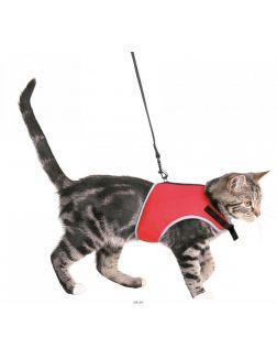 Шлейка мягкая с поводком Trixie для кошек 24-42 см