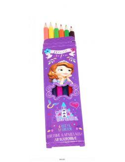 Цветные карандаши двусторонние «София», 6 штук, 12 цветов Disney арт. 29075