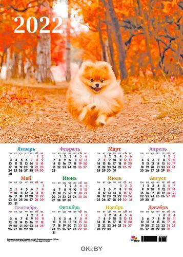 Календарь листовой «Очаровательные щенки» на 2022 год (А3)
