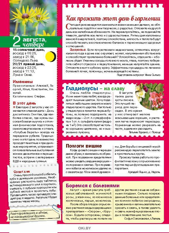 Герой номера - Василиса Володина. 14 / 2018 Календарь советов