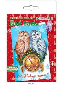 Набор для изготовления новогодней открытки «Две совы»